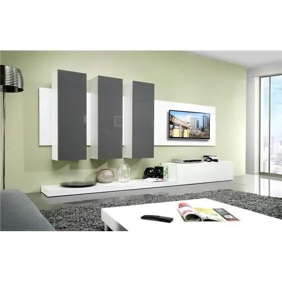 Meuble Tv Design Mural Lime Blanc Et Gris Composition