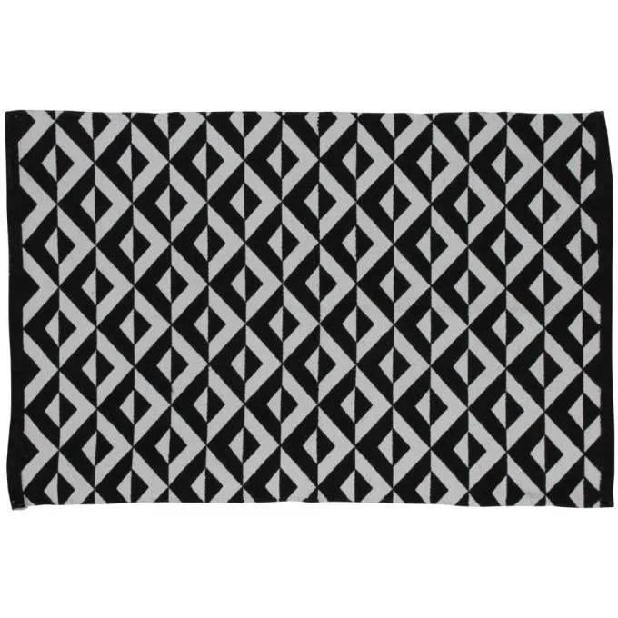 Tapis Noir Et Blanc 100 Coton Motifs Losange 60x90cm