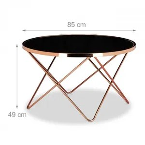 table basse table basse ronde diametre 83 cm cuivre et verre n