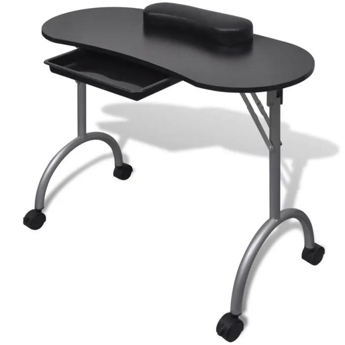 table de manucure pliable table cosmetique table de travail avec sac nail avec roulettes noir