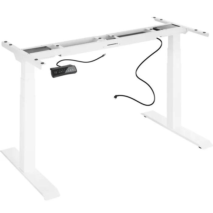 tectake bureau assis debout pied de bureau reglable en hauteur electrique 180 cm x 68 cm x 123 cm en acier blanc