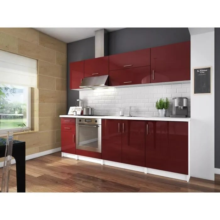 CITY Cuisine Complte L 240 Cm Bordeaux Laqu Brillant