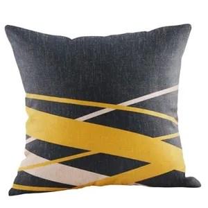 moutarde taie automne geometrique jaune coussin d automne couverture decorative mn15974