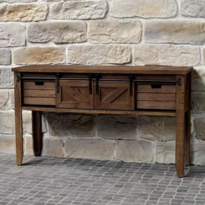meuble console table de drapier industriel bois fer 140 cm