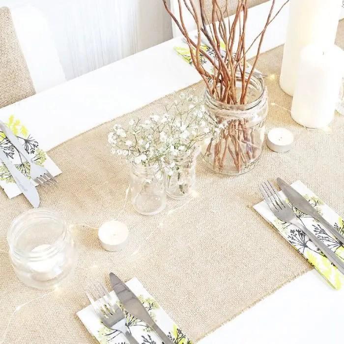 chemin de table toile de jute naturelle mariage brlap