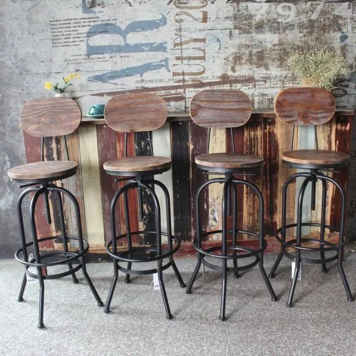 ikayaa 4pcs tabouret de bar style industriel hauteur reglable pivotant chaise a manger en bois de pin acier 42 38 105 120cm