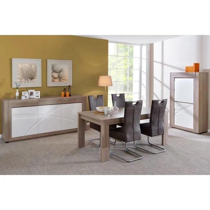 ensemble salle a manger complete coloris chene gris et blanc laque avec bibliotheque et lot de 4 chaises