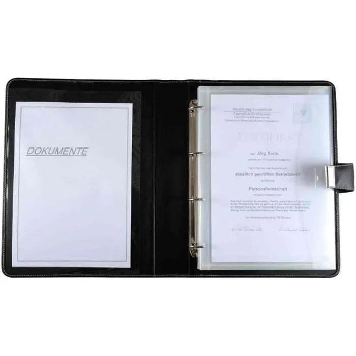 Porte document  format A4  en cuir  noir Noir  Transparent   Achat     CONF    RENCIER Porte document  format A4  en cuir