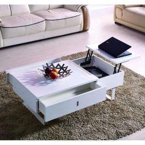 table basse relevable multifonction laque blanc