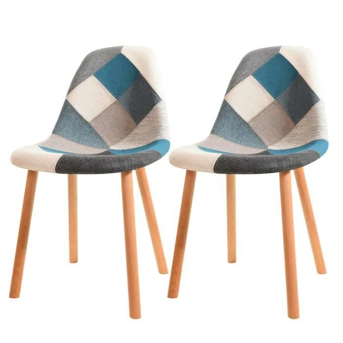 Chaise Arctik Patchwork Bleue Lot De 2 Achat Vente