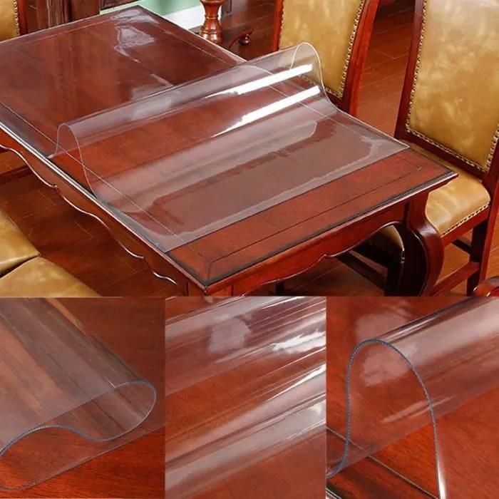 nappe de table pvc transparent tapis de protection plancher de chaise bureau 90x120x0 2cm