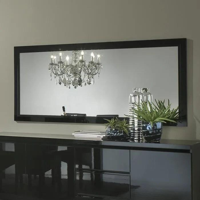 Miroir Mural Rectangulaire Noir Laqu Design HELENA L 180