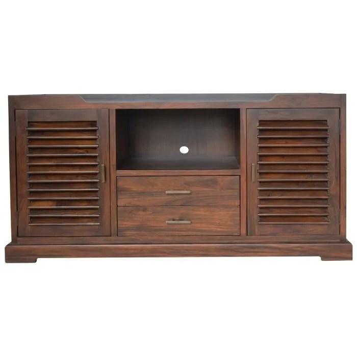 ubud meuble tv ethnique en bois teck massif naturel l 140 cm
