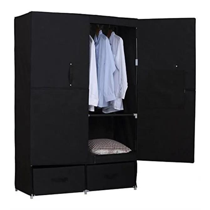armoire penderie en tissu penderie dressing pliant armoire de chambre en toile avec porte et tiroirs 110x46x167cm noir