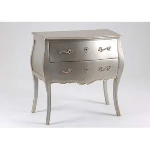 commode de chambre commode 2 tiroirs murano silver argent