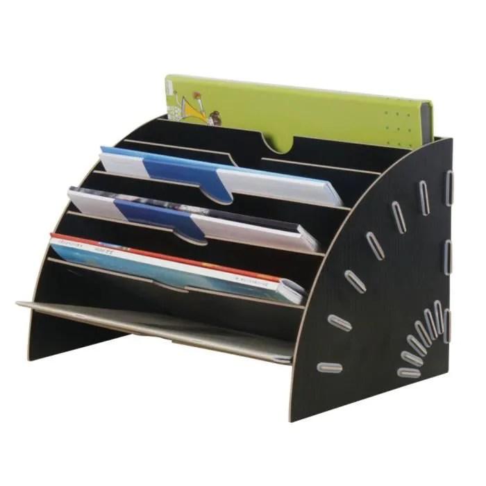 trieur vertical rangement etagere en bois dossier papier magazine organiseur pour bureau noir