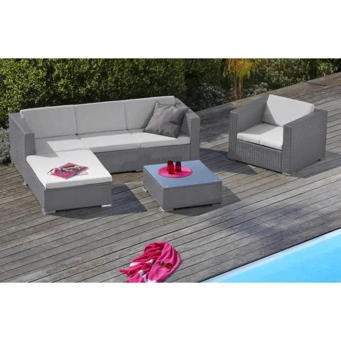 goa salon de jardin 5 places en resine tressee et aluminium gris