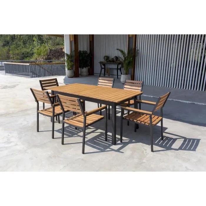 ensemble mobilier de jardin 6 places 1 table avec plateau extensible et 6 fauteuils empilables en bois d eucalyptus