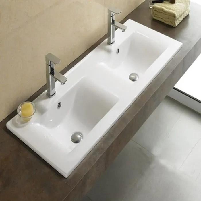 lavabo encastrable double vasque 120x46 cm ceramique space