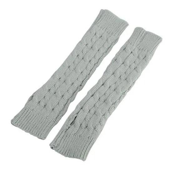 gants mitaines manchon poignet laine bras tricot chaud hiver 30cm gris clair tu achat vente gant mitaine 7422950973204 cdiscount