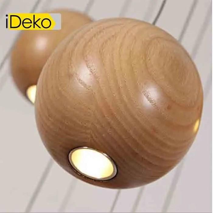 ideko lampe de suspension led en bois boule style nordique