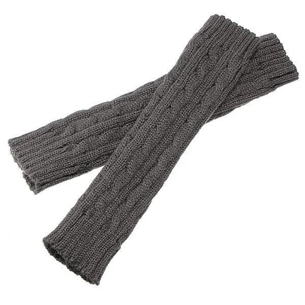 gants mitaines manchon poignet laine bras tricot chaud hiver 30cm gris tu