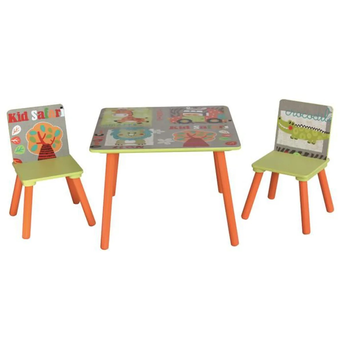 Ensemble Table Et 2 Chaises Pour Enfant En Bois Motif