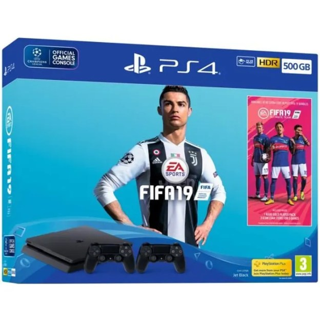 PS4 500 GB Black + FIFA 19 + 2nd controller + others