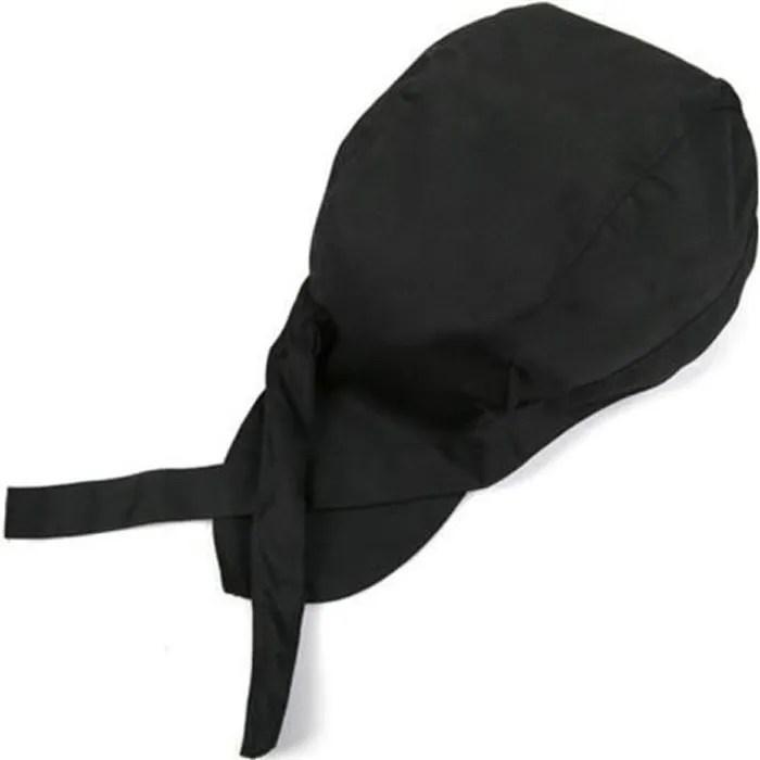 coiffe calot de cuisine bandana noir