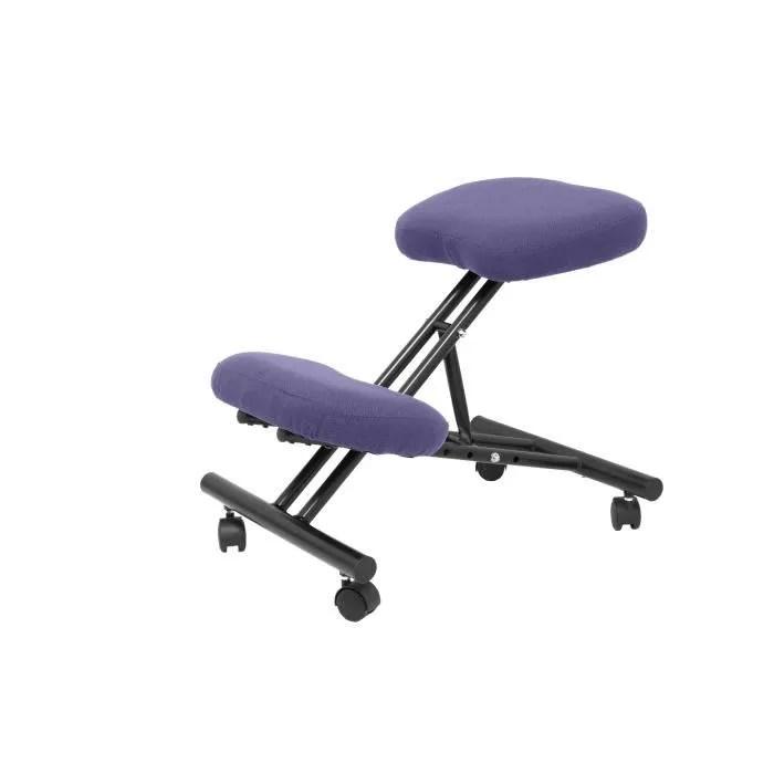 tabouret de bureau ergonomique fixe reglable en differentes positions et avec roulettes siege rembourre en tissu bali bleu clair