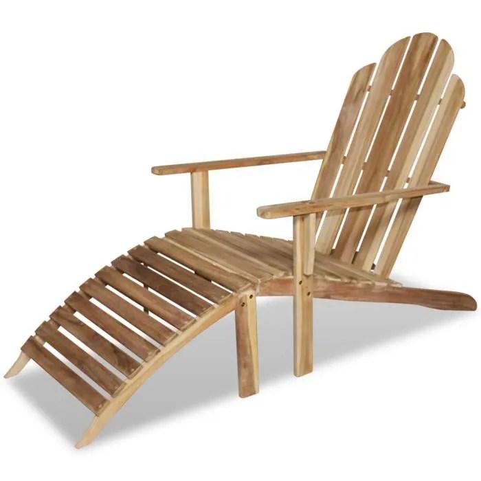 fauteuil jardin vidaxl chaise adirondack en teck