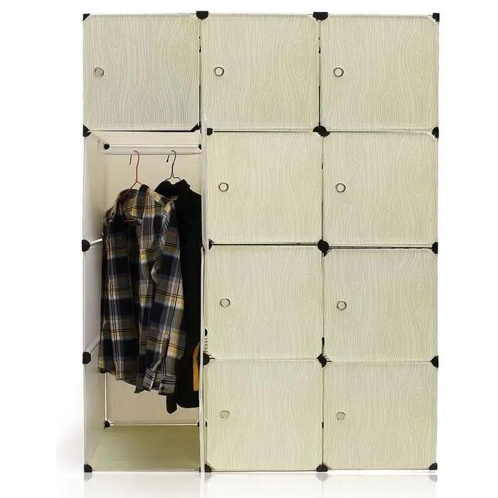 armoire de rangement bricolage 12 portes avec etageres et penderie blanc