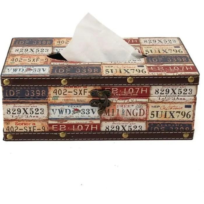 tempsa boite mouchoir distributeur papier serviette vintage en pu cuir