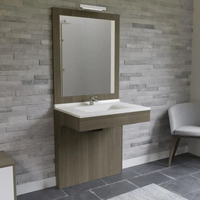 altea ensemble meuble de salle de bain double vasque avec led et miroir l 80 cm decor coimbra souris