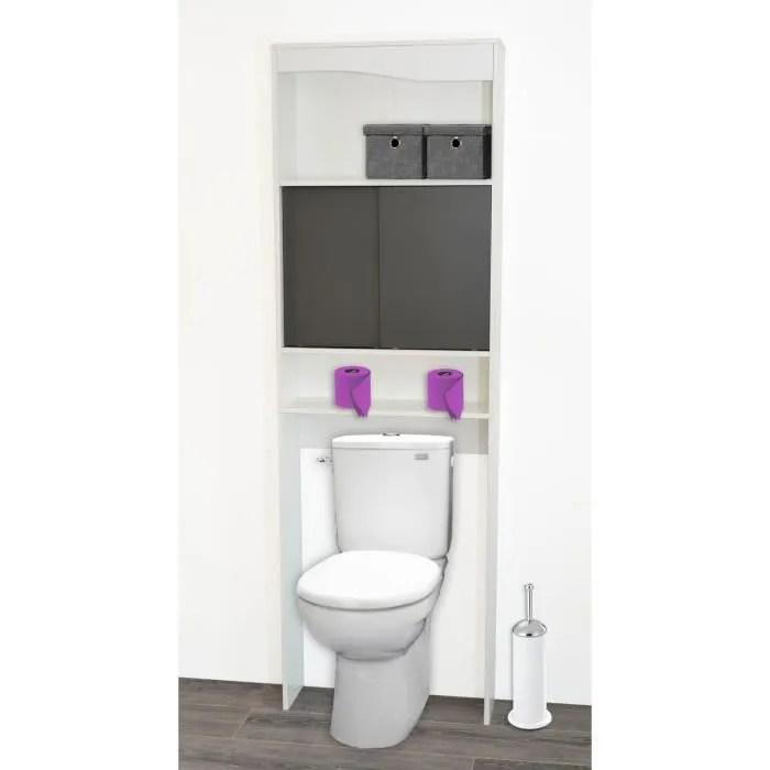 MIA Meuble WC Galet 60 Cm Blanc Et Gris Achat Vente