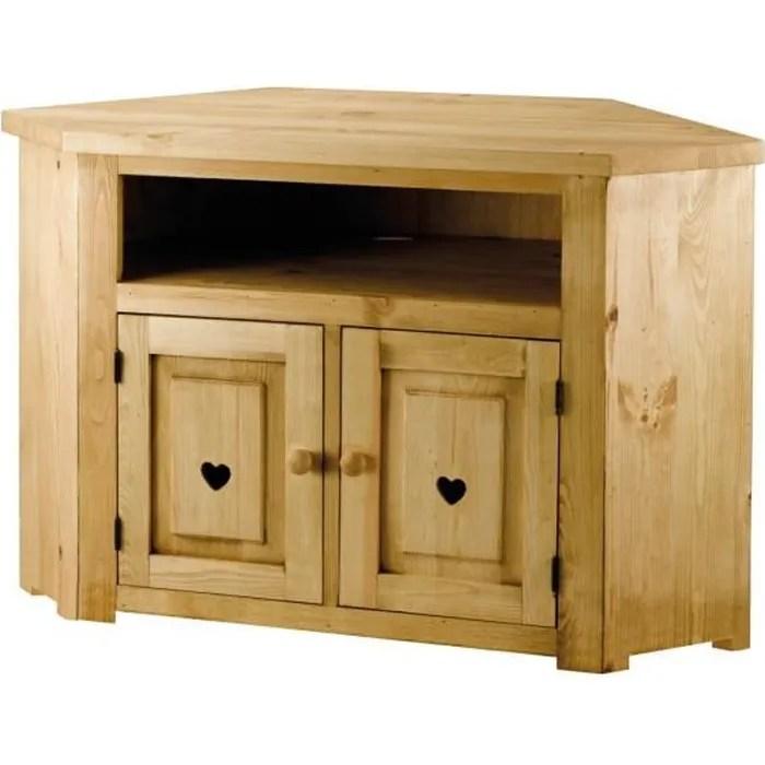 meuble tv rustique pin massif avec coeur 2 portes 1 niche terroir couleurs des alpes
