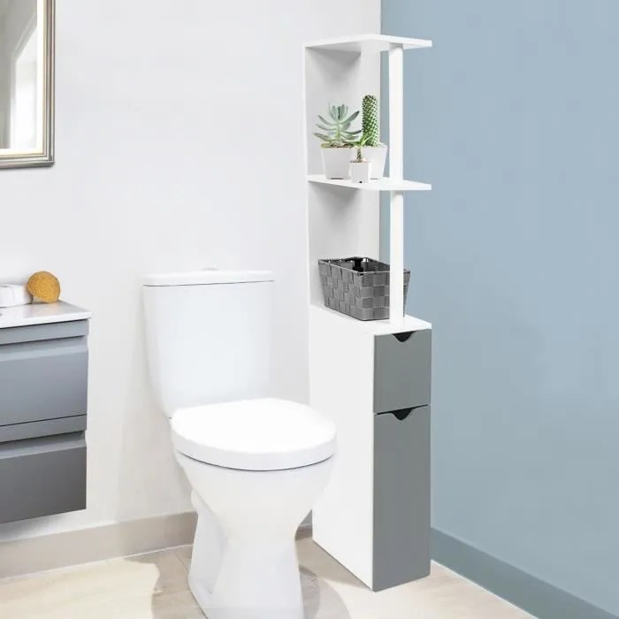 meuble wc etagere bois gain de place pour toilette porte grise
