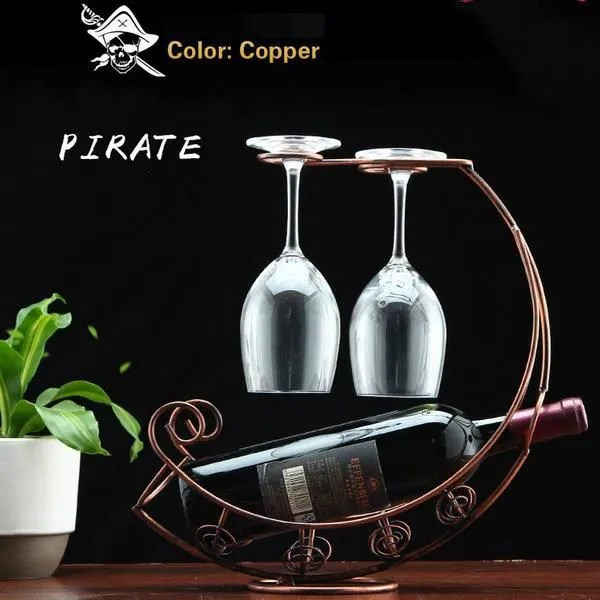 nouveau 2016 creative de mode casier a vin en metal suspendus porte verre de vin pirate ship shape bar vin titulaire