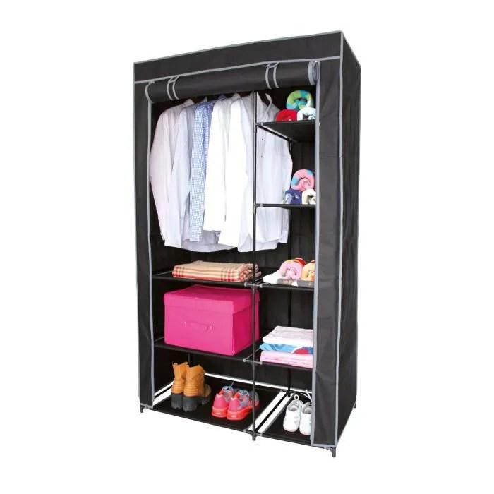 armoire avec housse en tissu 100 x h 170 cm noir