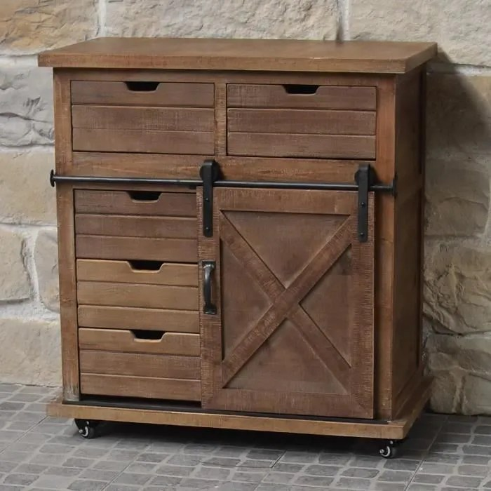 meuble bahut buffet semainier style industriel campagne bois et fer 86 cm 10908 meuble