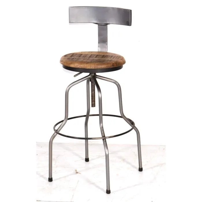 tabouret de bar tabouret de bar metal et bois industriel reglable