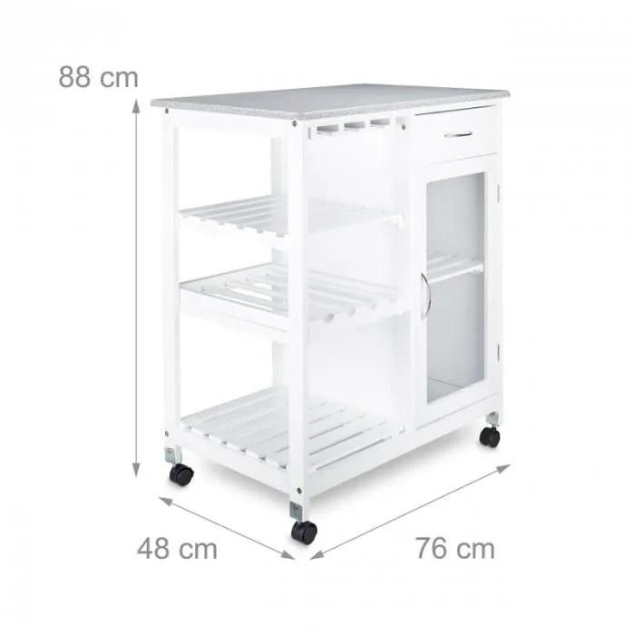 desserte de cuisine ilot chariot meuble de cuisine avec 4 roulettes casier a vin en bois blanc 88 cm 4313034