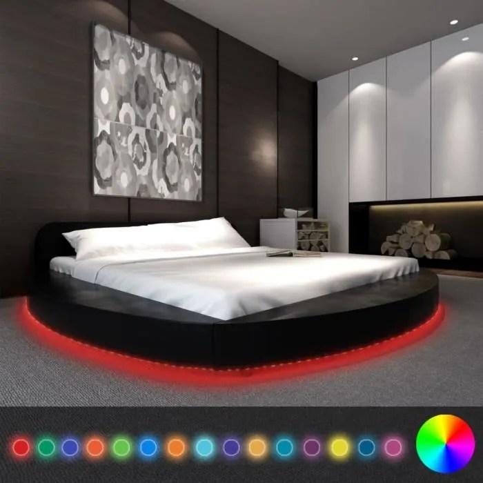 objet decoratif vidaxl cadre de lit rond avec led 180 x 200 cm cui