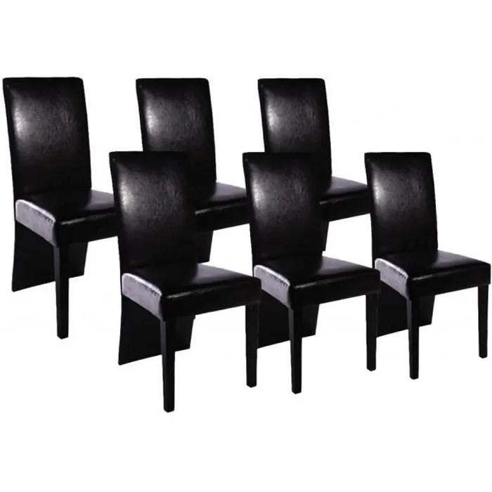 set de 6 chaises de salle a manger noires en similicuir