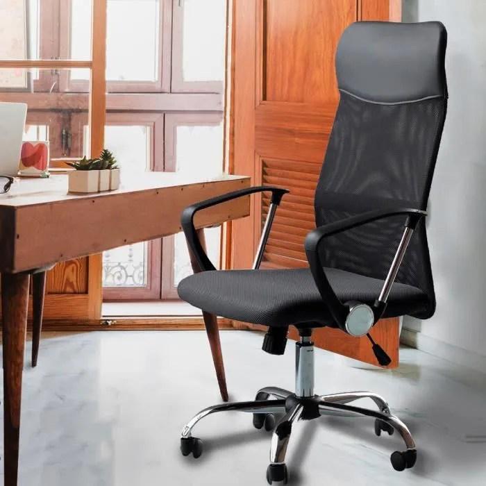 fauteuil chaise de bureau noir inclinable ergonomique design moderne avec accoudoirs