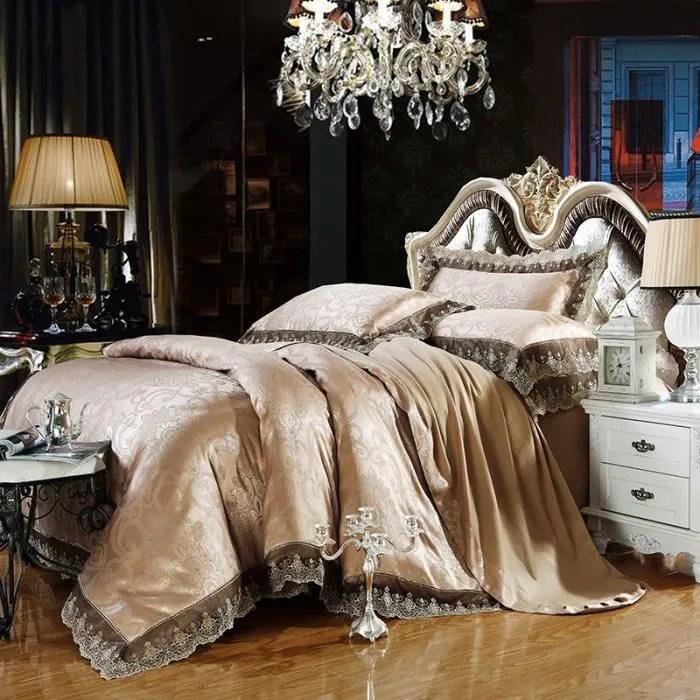 ensembles de literie jacquard en or gris ensemble de literie 4pc king size literie en soie et en coton literie de luxe