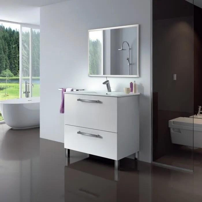 urban ensemble salle de bain simple vasque l 80 cm avec miroir blanc brillant
