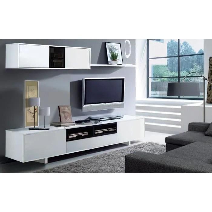 belus meuble tv mural contemporain noir et blanc brillant l 200 cm