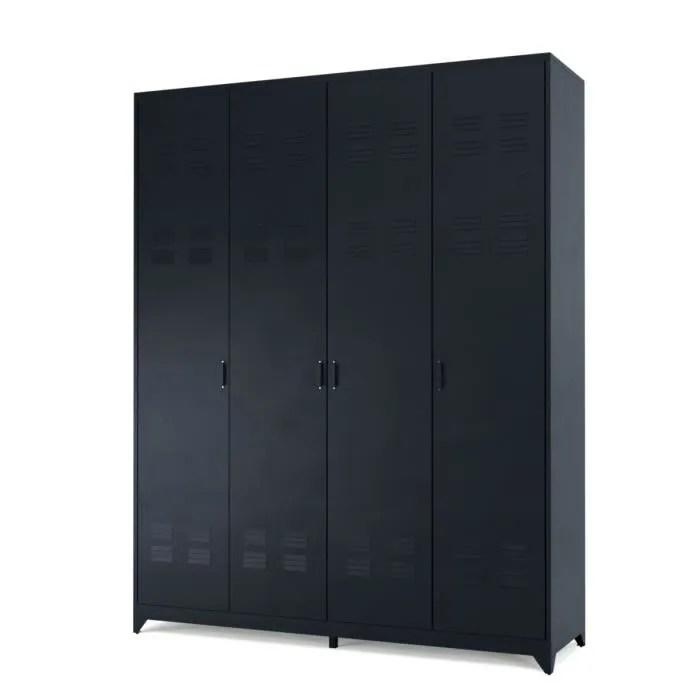 camden armoire vestiaire style industriel en metal noir laque l 170 cm