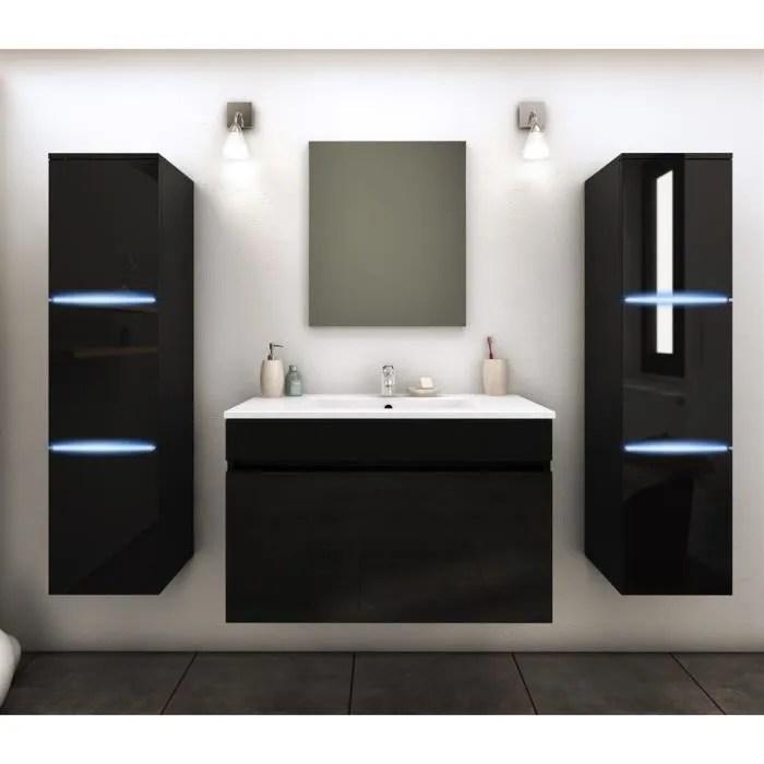 meuble de salle de bains 2 colonnes avec led amalfi noir